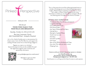 Join Us For The 4th Annual Think Pink Family Fun Run/Walk